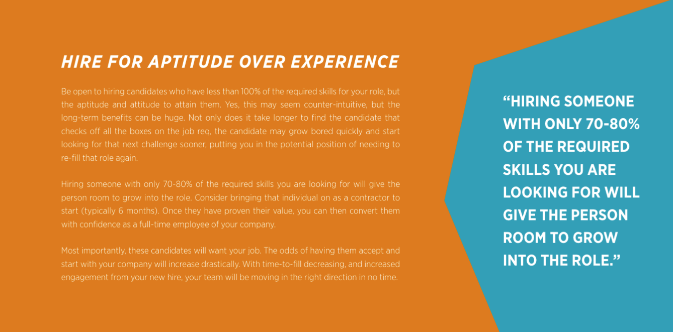 Hire for aptitude over experience